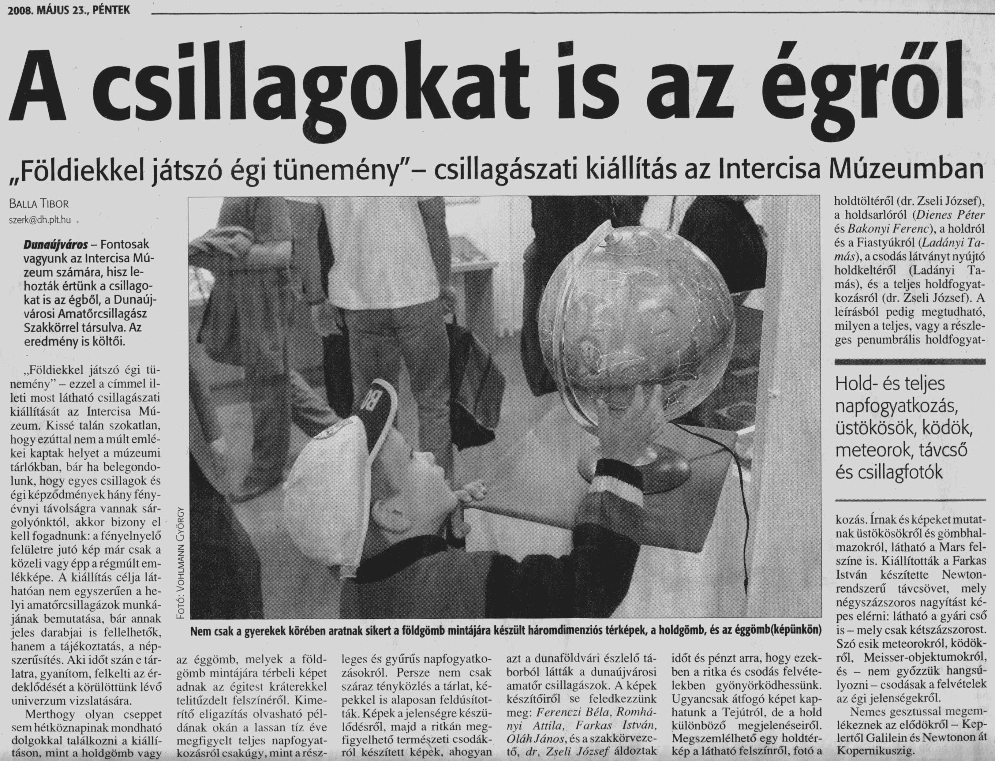 Balla Tibor, Dunaújvárosi Hírlap cikke