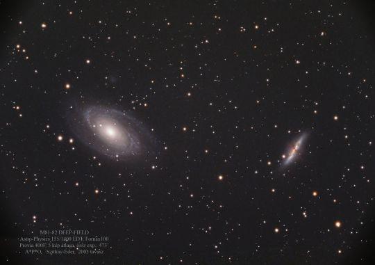 Szitkay Gábor és Éder Iván felvétele az M81-82 galaxisokról