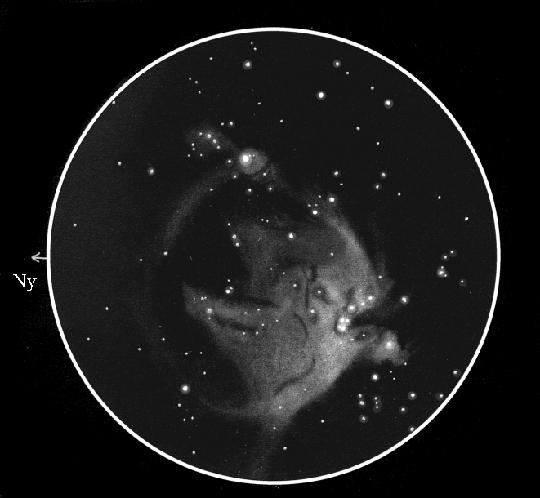 Lőrincz Imre rajza az Orion-ködről. 10 L, 38x, 102'