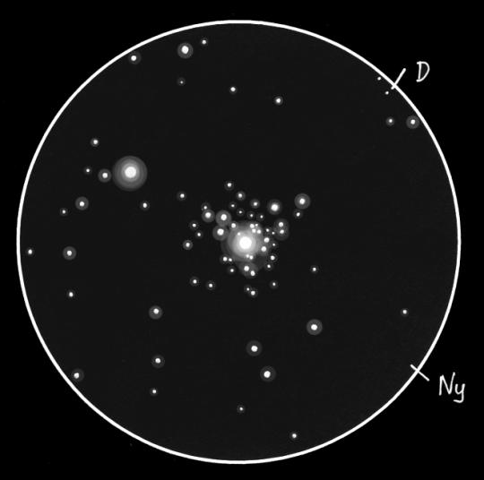 A tau CMa körüli NGC 2362 jelű halmaz Sánta Gábor rajzán, melyet 28 cm-es SC távcsővel készített