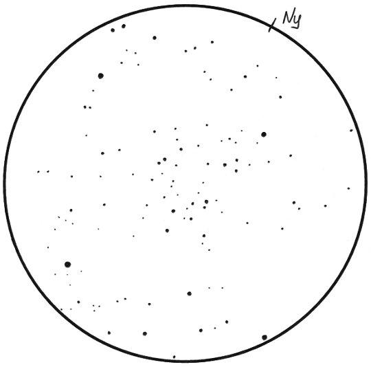 Egy érdekes nyílthalmaz: a DoDz 9 a Herkulesben, Sánta Gábor rajzán (8L, 40x, 1,8 fok)