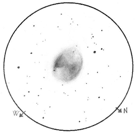 """Wolf Sándor remek rajza a Dumbbell-ködről, melyen a belső súlyzó alakú terület és a """"fülek"""" is jól megfigyelhetőek. 20 cm-es reflektor, 96x-os nagyítás"""