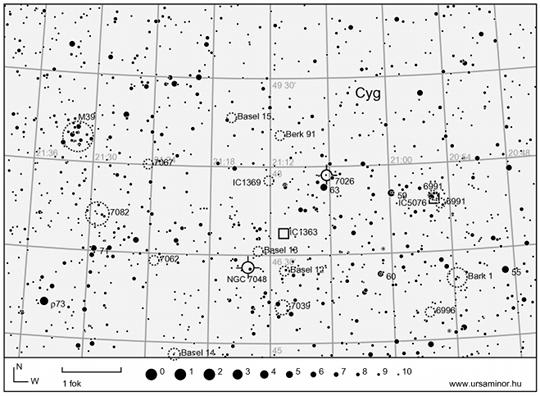 A Denebtől északkelete található égterület részlete (Cygnus csillagkép)