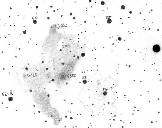 Már 20x60-as binokulárral kitűnően látható az Észak-Amerika és Pelikán-köd, ha kiváló egünk van. Ezt a rajzot Bakos Gáspár készítette a Magas-Tátrából, de egy átlagos alföldi égen is előbújhat a köd, ha nem zavarnak a fények