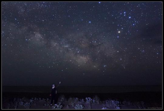 Ladányi Tamás rodoszi asztro-tájképe a Tejút centrumáról