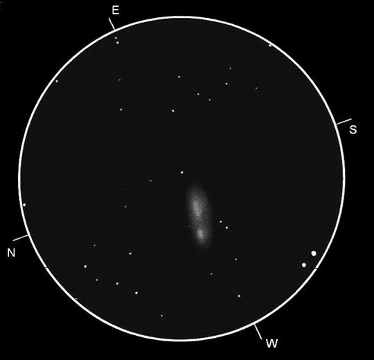 A Lokális Rendszer félreeső tagja az NGC 3109 GX Hya. A szerző rajza 105/600-as refraktorral, 48x-os nagyítással készült. A LM mérete 63 ívperc