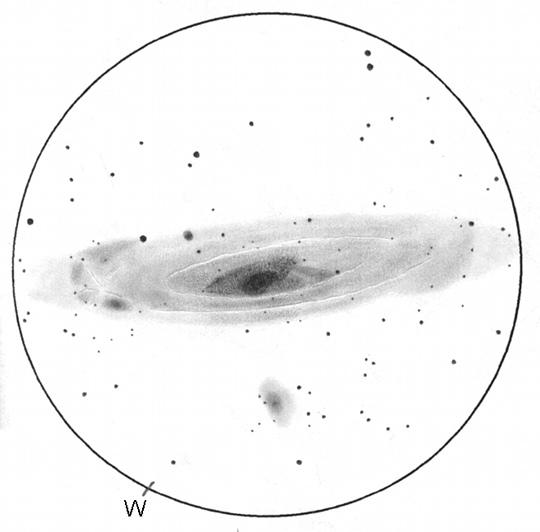 Az Androméda-galaxis 15 cm-es tükrös távcsővel. A rajz 1999-ben, több nyárvégi és ősz eleji éjszakán készült. Szabó Gábor munkája, a látómező kb. 2 fok