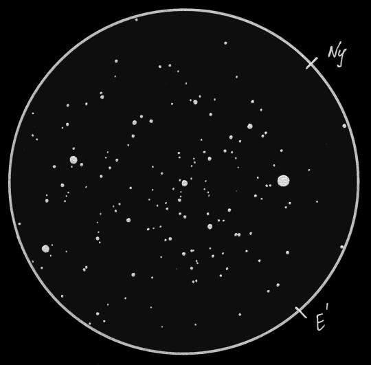 Kifejezetten kistávcsöves, binokuláros látványosság az alfa Per halmaz (= Melotte 20). Sánta Gábor rajza 8 cm-es refraktorral, 15-szörös nagyítással készült.
