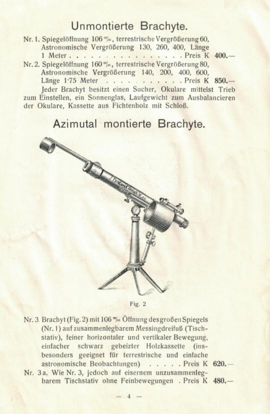 Ferdetükrös brachy-távcső egy 1912-es kiadású Fritsch-féle katalógusból.