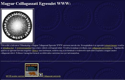 Az ős-mcse-honlap 1995-ben született