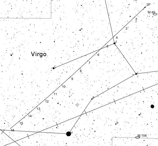 Az Encke-üstökös binokuláros keresőtérképe
