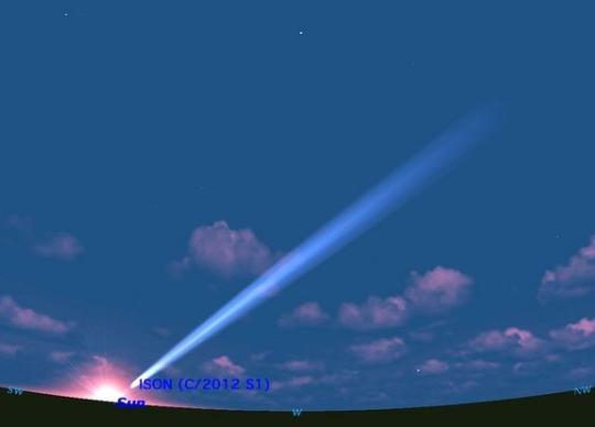 Az ISON-üstökös szimulált látványa november 26-28-a körül, hajnalban. Nagy valószínűséggel nem lesz ennyire fényes, jó esetben binokulár kell majd azonosításához.