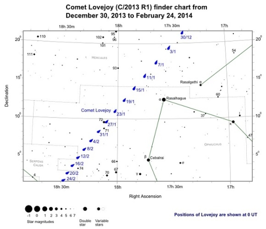 A C/2013 R1 (Lovejoy) keresőtérképe feb. 24-ig
