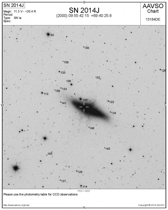 Az SN 2014J keresőtérképe (kattintásra nagyobb méretben nyílik meg).