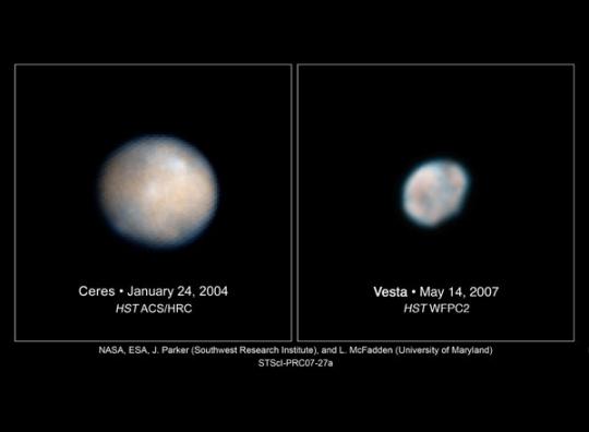 A Ceres és a Vesta a HST felvételén.