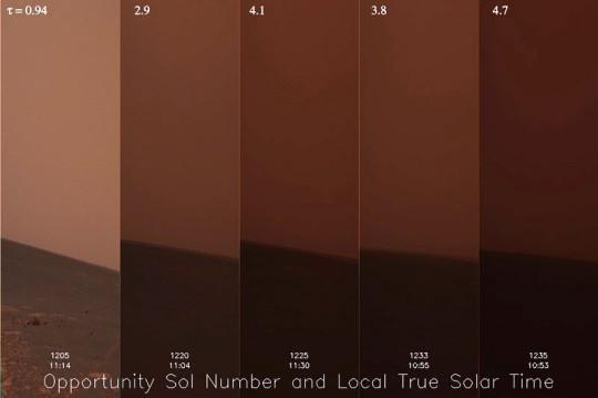 ...illetve a felszínről az Opportunity űrszondával készített képeken.  (Az előző kép és a fenti kép nem ugyanakkor készült!)