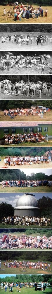 """Tábori csoportképek 1988-1999. Két kivétellel """"Meteor""""-észlelőtábor vagy távcsöves találkozó csoportképét mutatjuk be. Fentről lefelé: Ráktanya (1988), Ráktanya (1989), Ráktanya (1990), Ráktanya (1991), Ráktanya (1992), Herend, ifjúsági tábor (1993), Ágasvár (1994), Ráktanya (1995), Ágasvár-Piszkéstető (1996), Ágasvár (1997), Ágasvár (1998), Szatmyaz, napfogyatkozás-tábor (1999)."""