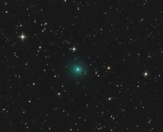 A Borisov-üstökös csóvátlan, gázban gazdag kómája José Chambó október 25-i felvételén