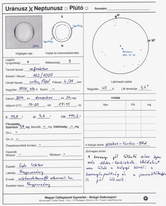 Uránusz az esti nyugati horizonton: 100/1000 refraktorral észlelve kicsit párás égen. Az egész észlelőlapot bescanneltem! Boldog karácsonyt!