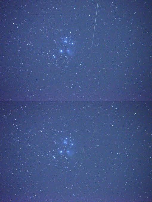 A Fiastyúk meteorral és hullócsillag nélkül. A viszonylag rövid expozíciós idő ellenére is sejthető a halmazt átlengő ködösség fényesebb része
