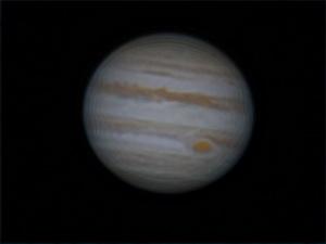A Jupiter 2015. január 26-án. Szitkay Gábor felvételén jól látható a Nagy Vörös Folt.