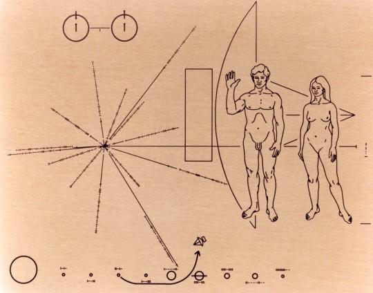 A Pioneer-10 és -11 űrszondák fedélzetén elhelyezett alumíniumlap - az emberiség üzenete.