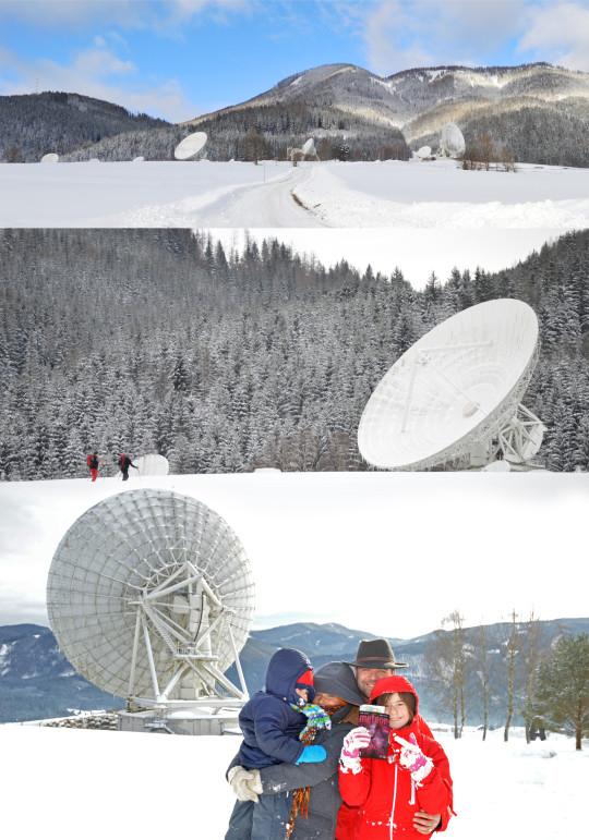 Fényes Lóránd és családja az Aflenz felett levő űrtávközlési állomásnál (Ausztria).