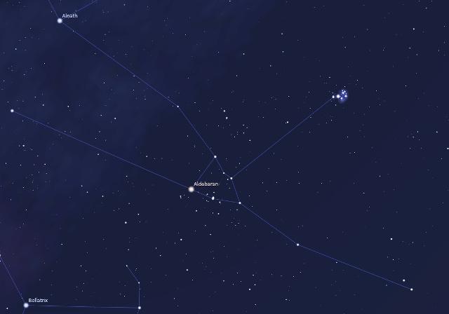 Két szép nyílthalmaz a Bika csillagképben: a Fiastyúk (jobbra fent) és a Hyadok (a kép közepén)
