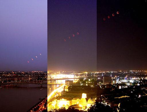 Szendrői Gábor felvételsorozata a 2011-es nyári holdfogyatkozás során Budapest fölé emelkedő, elfogyó Holdról