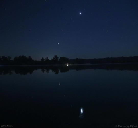 A Jupiter, a Mars, a Regulus és a Vénusz egy vonalban október 5-én hajnalban, Rosenberg Róbert adonyi felvételén.