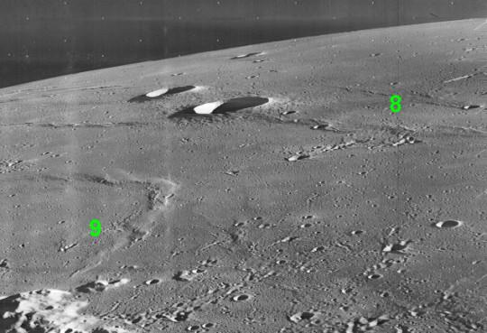 A Planitia Descensus térsége a Luna 9 leszállóhelyével és a Luna 8 becsapódási helyével.