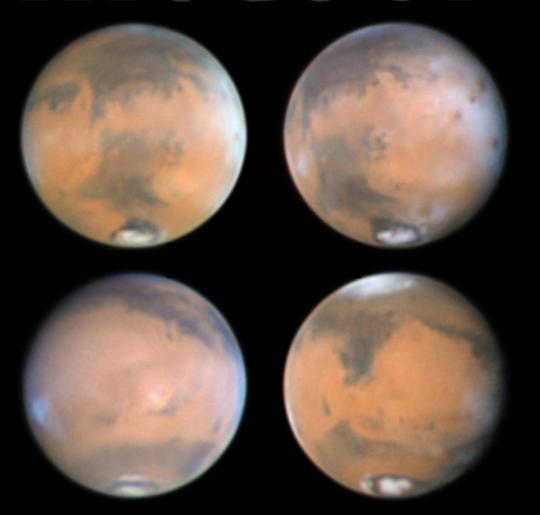"""A Mars """"négy arca"""" 2014 márciusában, Stefan Buda 40,5 cm-es Dall-Kirkham-távcsővel készült felvételein."""