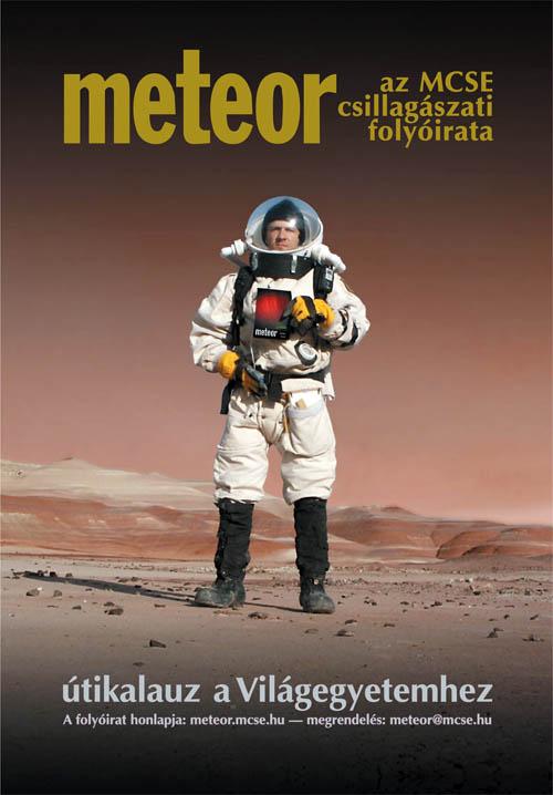 """Kereszturi Ákos a """"Marson"""" (az arizonai Mars-analógia bázison) a Meteor 2004/1. számával."""