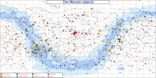 A Messier-objektumok égi elhelyezkedése. (http://www.constellation-guide.com, Jim Cornmell)