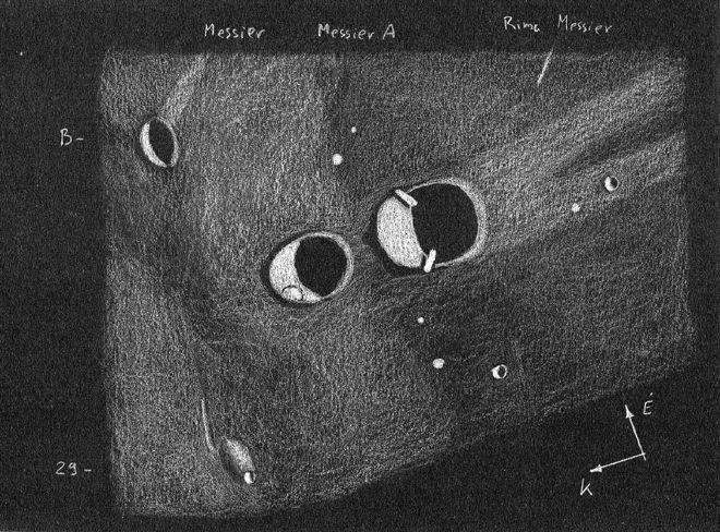 A Messier és Messier A-kráterek Görgei Zoltán 2008.11.15-én készült rajzán, amely a Polaris Csillagvizsgáló 200/2470 refraktorával készült, 274x-es nagyítással.