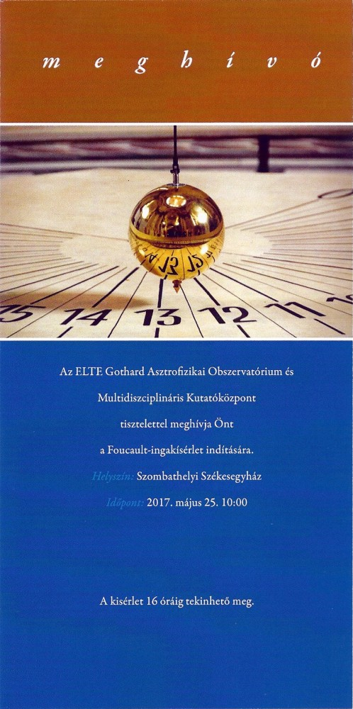 Foucault-ingakísérlet Gothard Jenő 160. születésnapja alkalmából @ Sarlós Boldogasszony Székesegyház | Szombathely | Magyarország