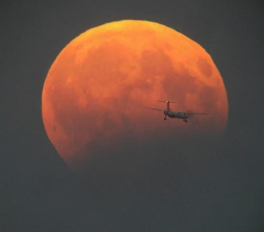 Ferihegy felé tartó légcsavaros repülőgép a Hold előtt Benei Balázs felvételén.