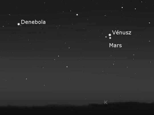 A Vénusz, a Mars és a velük háromszöget alkotó szigma Leo október 5-én a hajnali égbolton.