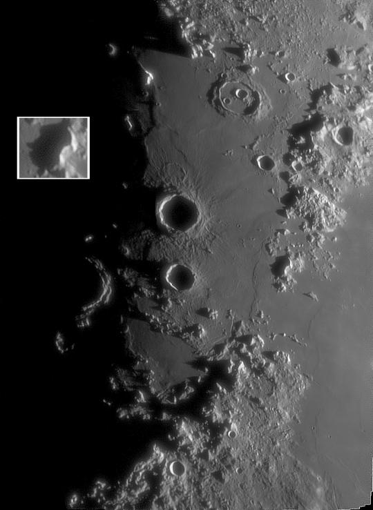 A Mare Imbrium vidéke Szabó Szabolcs Zsolt felvételén, amely december 25-én 19:46-kor készült 152/1200-as refraktorral.