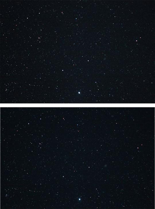 """A Massalia kisbolygó és az M1 """"találkozása"""". A felső kép 12. 24. 02:34 UT-kor, az alsó 21:21 UT-kor készült, jól látható az égitest elmozdulása. Canon EOS 1100D, 300 mm-es teleobjektív, f/5,6, ISO 6400, exp.: 26 s ill. 28 s."""