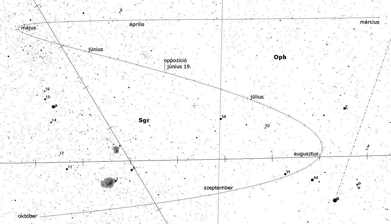 A Vesta kisbolygó keresőtérképe.