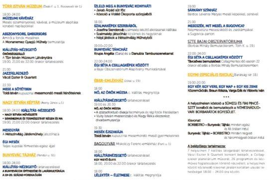 Múzeumok Éjszakája Baján @ Nagy István Képtár; Bajaszentistváni Bunyevác Tájház; Borbás Mihály Bemutatóterem