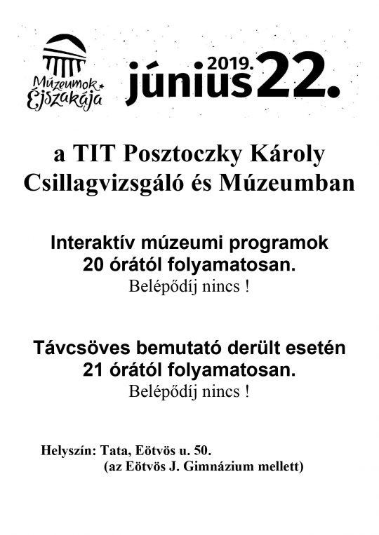 Múzeumok Éjszakája Tatán @ TIT Posztoczky Károly Csillagvizsgáló és Múzeum